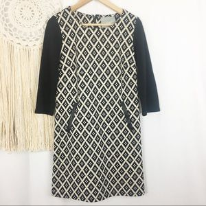 MAEVE Black Tan Tribal Geometric Winter Dress